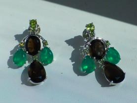 серьги серебро+раухтопазы+зел.агаты+перидоты