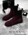 Ботинки №1043М-Бордо Замш