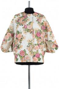 12-0001 Пальто летнее Жаккард Белый с цветами