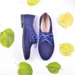Женские туфли из нубука на шнуровке