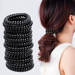 Набор 10 шт. Резинка-пружинка для волос, ЧЕРНАЯ Ø3,5см