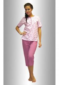 "Комплект футболка с бриджами ""Цветы кустики на розовом сирен"