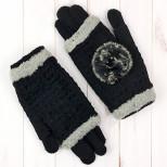 Перчатки двойные женские с опушкой