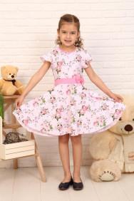 Платье Алекса цветы кор.рукав