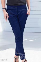 Укороченные синие брюки из коттона