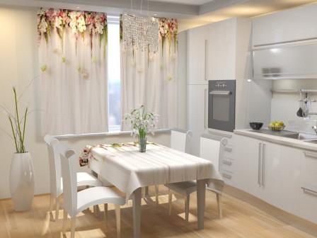 Фотошторы для кухни Цветочный верх 2 Габардин