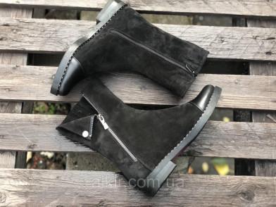 Ботинки из натуральной черной замши и кожи №108-4 (вена м/б