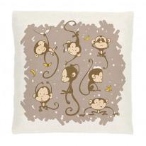Подушка интерьерная льняная белая с рисунком «Обезьянки хули