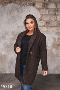 Женское пальто 19718 коричневый