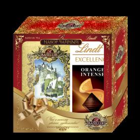 Чайный набор BASILUR и шоколадная плитка Lindt 100 в подарок