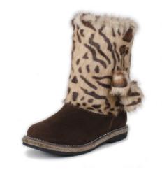 """Унты для девочки. Мех - """"леопард"""". Размеры: 25-30"""