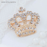 """Брошь """"Корона императорская"""", цвет белый в золоте"""