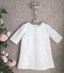 Классическое платье с вязаным кружевом Белое