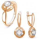 Гарнитур из золочёного серебра с кристаллами Swarovski