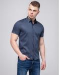 Молодежная рубашка Semco брендовая синяя модель 10442 8825