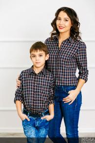 "Комплект рубашек Family Look для мама+сын ""Техас"""