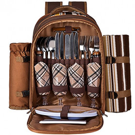 Ferlin Picnic Backpack for 4 With Cooler Compartment