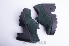 Туфли натур. замша изумруд!!!! 37 размер