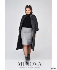 Пальто №1470-1-Черный-Полоска