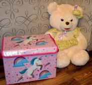 """Короб для хранения складной """"Единорог""""-розовый"""