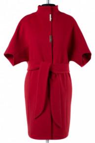 01-5725 Пальто женское демисезонное (пояс) Кашемир Красный