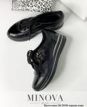 Кроссовки №1201R-Черная Кожа Блеск-Черный Лак