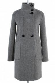 01-5027 Пальто женское демисезонное Твид Серо-черный