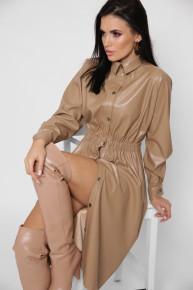 Платье-рубашка из эко-кожи KP-10355