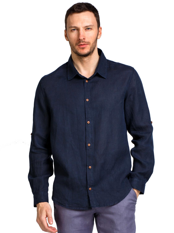 Льняная рубашка BRUNO 16705 д/рукав (р.48-62) т.синий
