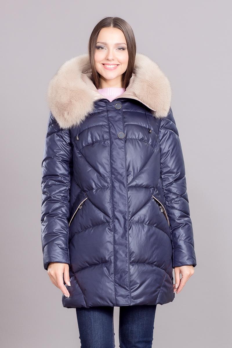 Куртка женская зима/осень, нат. мех, т.синий, беж, коричн.
