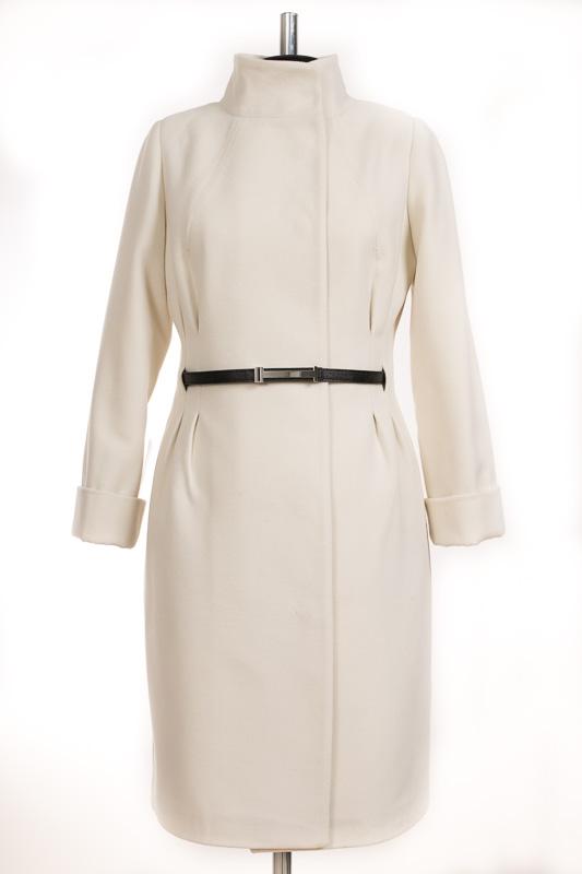 01-2051 Пальто женское демисезонное (пояс) Кашемир Белый