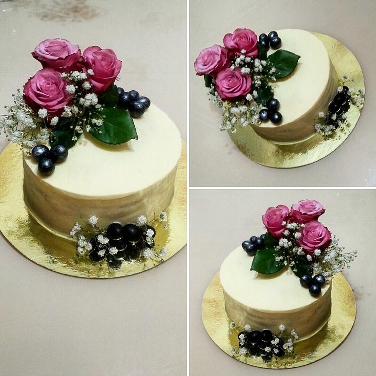 Оформление тортов цветами живыми
