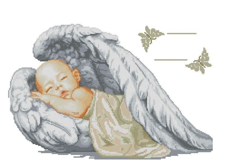 Схема вышивки метрики ангелочек