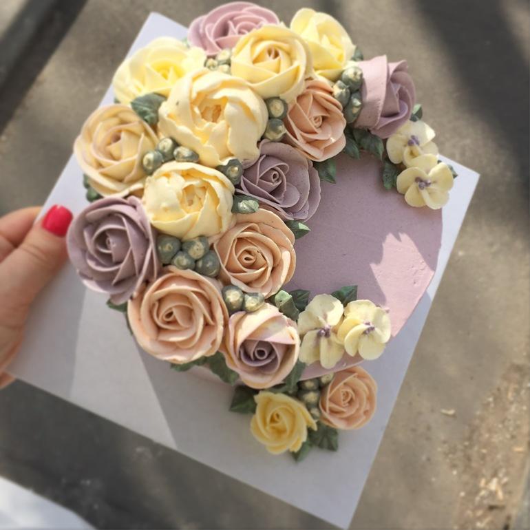Торты с цветами из крема фото