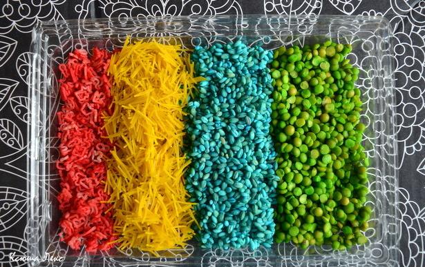 Покрасить рис для поделки